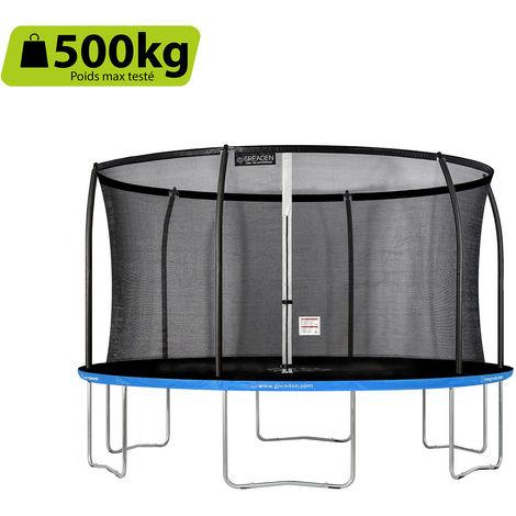GREADEN Trampoline de jardin Freestyle Bleu 430 fitness extérieur Ø 427cm - Filet de sécurité/coussin de protection/tapis de saut