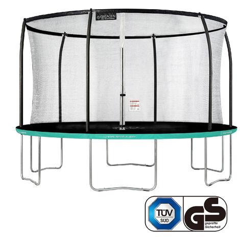 GREADEN Trampoline de jardin Freestyle Vert 430 fitness extérieur Ø 427cm - Filet de sécurité/coussin de protection/tapis de saut