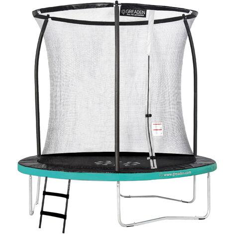 GREADEN Trampoline de jardin Freestyle Vert 250 Set complet avec Filet coussin de protection + Échelle Ø 244cm - Ultra sécurisé
