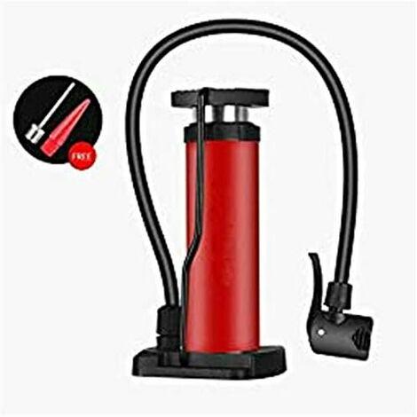 Pompe à Pied-rouge Portable Compresseur Pneu de Manomètre 120PSI Universal Mini Floor Pompe à Pied Ultra Légère avec Adaptateur pour Extérieur Road de Vélo/VTT/Moto/Football