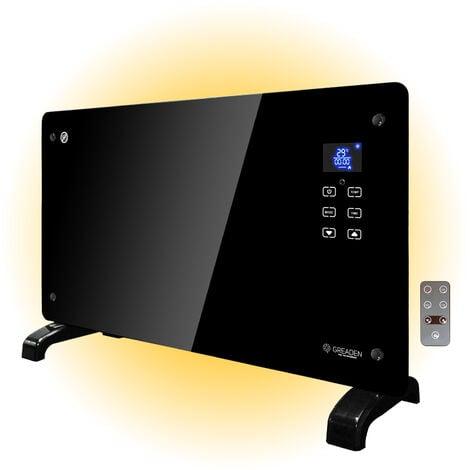 Greaden Radiateur Convecteur en verre 2000 W électrique,2 niveaux de chaleur, écran LED tactile, Mode ECO, 5 programmes disponibles, Noir, installation au mur ou sur pied