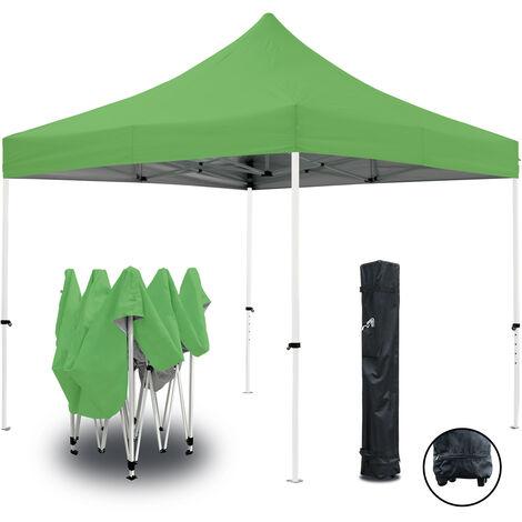 Tente pliante verte 3x3m ECO Tube 25mm en acier Bâche 220g/m² ENDUIT PVC 100% ÉTANCHE Pavillon jardin Tonnelle réception, Sac de transport