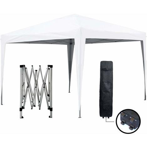 Tonnelle de jardin blanche 3x3m ECO BRISO Tube 30mm en ALU & ACIER Bâche 220g/m² ENDUIT PVC 100% ÉTANCHE Tente pliante de réception, Sac de transport