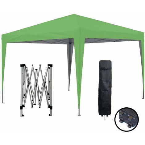 Tonnelle de jardin verte 3x3m ECO BRISO Tube 30mm en aluminium & acier Bâche 420D étanche Tente pliante de réception + Sac de transport