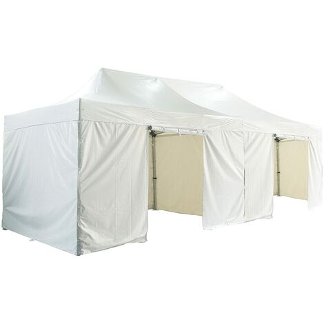 Barnum pliante 4x8m 50mm en aluminium premium PRO 520Gr/m2 Etanche avec pack 4 murs amovibles blanche tente de Réception Qualité