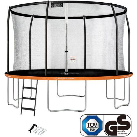 GREADEN Trampoline de jardin Rond Orange 360 avec Filet coussin de protection + Échelle/Kit d'ancrage jeux extérieur - Normes EU|Sécurisé
