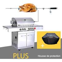 GREADEN- BBQ Grill Barbecue À Gaz INOX DÖNER 22KW- 4 BRÛLEURS+ 1 KIT RÔTISSOIRE (Infrarouge & TOURNEBROCHE)+ 1 FEU LATÉRAL et Thermomètre, Grille/Plancha + Housse