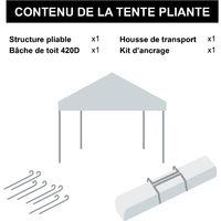 Tente pliante verte 3x3m PREMIUM LIGHT Tube 32mm en acier Bâche 220g/m² ENDUIT PVC 100% ÉTANCHE Pavillon jardin Tonnelle réception, Sac de transport