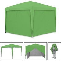 Tonnelle de jardin verte avec 4 murs 3x3m ECO BRISO Tube 30mm en aluminium & acier Bâche 420D étanche Tente pliante + Sac de transport