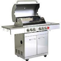 GREADEN- BBQ Grill Barbecue À Gaz INOX DÖNER- 4 BRÛLEURS+ 1 KIT RÔTISSOIRE (1 BRÛLEUR Infrarouge & TOURNEBROCHE)+ 1 FEU LATÉRAL et Thermomètre, 22KW, Grille/Plancha/Réchaud