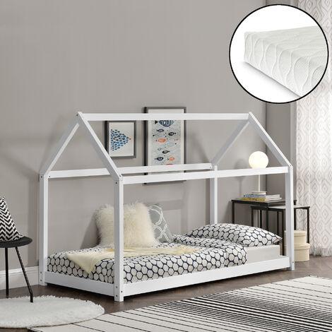 Cama para niños de madera pino con colchón - 200x90cm - Cama infantil - Forma de casa - Textil de confianza - certificado Öko-Tex 100 - Blanco mate