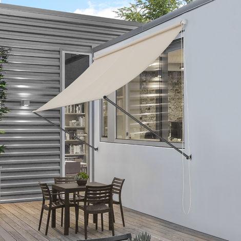 Toldo montando en la pared - Beige - 200 x 120 cm - Terraza Balcón Toldo extensible - Persiana de la ventana Exterior