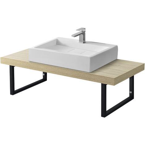 Encimera de Lavabo - 100 x 45 x 30 cm - Toallero - Estante de Baño - Tablero de Pared para Lavabo con Soporte de Metal - Mueble de Baño - Color roble