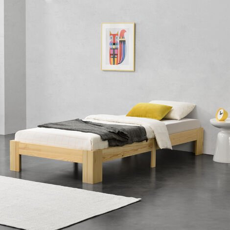 Cama de pino Raisio - 90 x 200 cm - Cama Simple - Cama Individual - con Somier - Capacidad de carga 100 kg - Madera natural