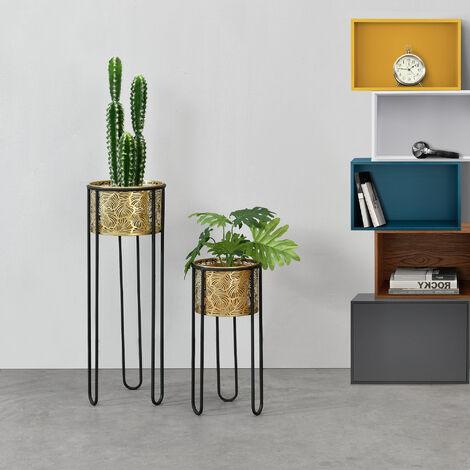 Soporte para plantas de metal - 2 piezas - 46 x 22 x 22 cm y 70 x 25 x 25 cm - Estantería para macetas - Bastidor para macetas - Patas Horquilla - Hairpinlegs - Negro y Color Dorado