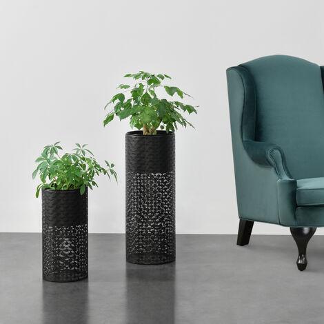 Set de 2 x soportes de flores Virton - con Macetero - Estantes para plantas - Estilo decorativo - Metal - Negro