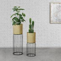 Soporte para plantas de metal - 2 piezas - 50 x 21 x 21 cm y 70 x 24 x 24 cm - Estantería para macetas - Bastidor para macetas - Color Dorado y Negro