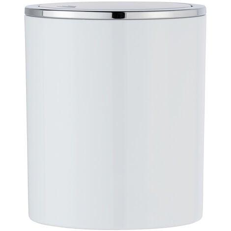 WENKO Müll Eimer Inca white 2 L Schwingdeckel Kosmetik Bad Küche Gäste-WC Abfall