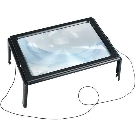Leselupe mit LED schwarz 220x90mm 4fach verstellba Vergrösserung 2,5x und 5x aus
