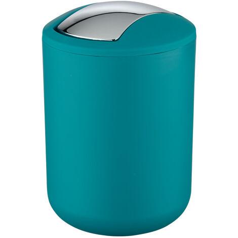 WENKO Schwingdeckel Eimer Brasil 2 L Petrol Müll Kosmetik Abfall Bad WC Küche