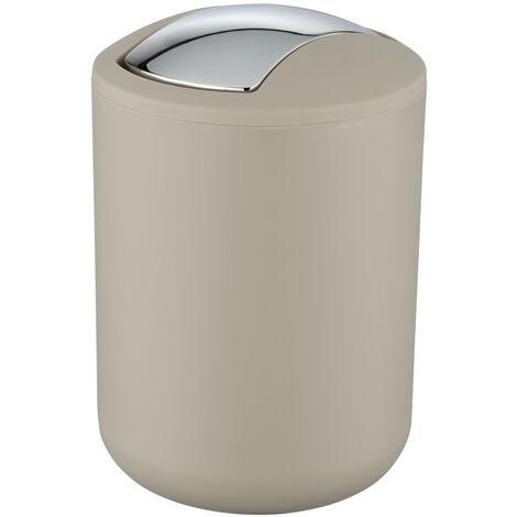 WENKO Schwingdeckel Eimer Brasil 2 L Taupe S Kosmetik Müll Abfall Bad Küche WC