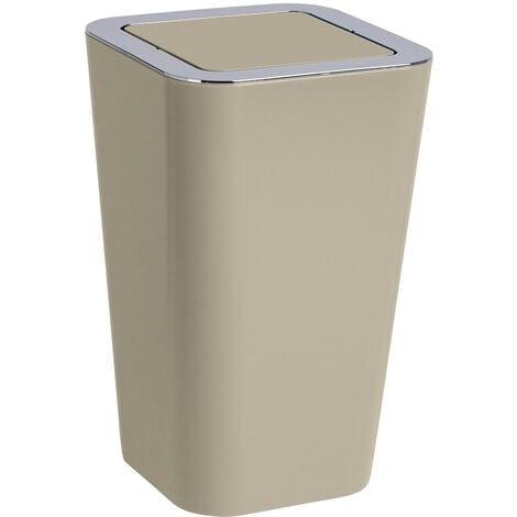 WENKO Schwingdeckel Eimer Candy taupe 6 L Abfall Müll Kosmetik Bad WC Küche