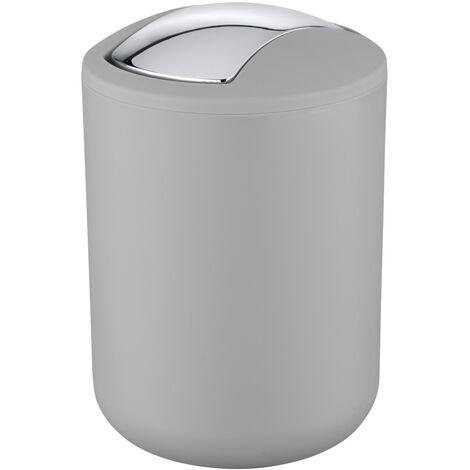 WENKO Schwingdeckel Eimer Brasil 2 L grau S Kosmetik Müll Abfall Bad WC Küche