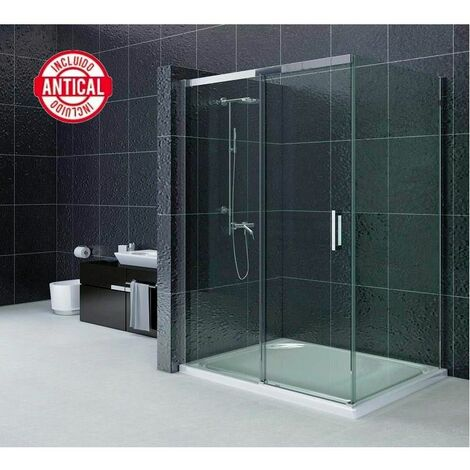Mampara de ducha Angular Antical 1 hoja fija + 1 hoja corredera + 1 hoja lateral fijo Modelo Portinax 90x100cm