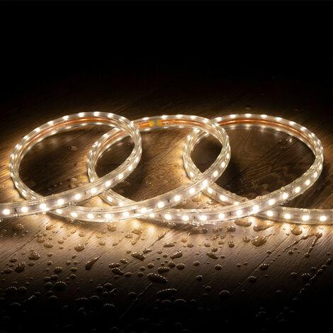 Tira LED Regulable 220V AC 60 LED/m Blanco Cálido IP65 a Medida Corte cada 100cm  .1m -  1m