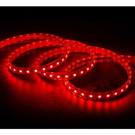 Tira LED Regulable 220V AC 60 LED/m Rojo IP65 a Medida Corte cada 100cm  1m  -  1m