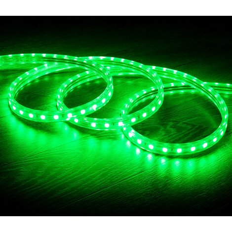 Tira LED Regulable 220V AC 60 LED/m Verde IP65 a Medida Corte cada 100cm  1m  -  1m
