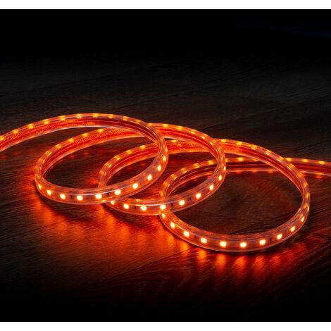 Tira LED Regulable 220V AC 60 LED/m Naranja IP65 a Medida Corte cada 100cm  1m  -  1m