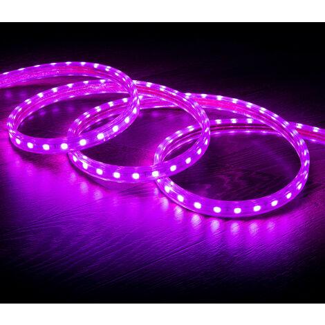 Tira LED Regulable 220V AC 60 LED/m Violeta IP65 a Medida Corte cada 100cm  1m  -  1m