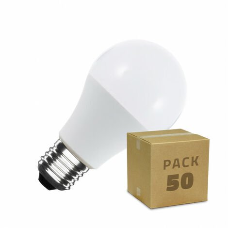 Caja de 50 Bombillas LED E27 Casquillo Gordo A60 7W Blanco Frío