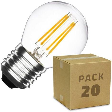 Caja de 20 Bombillas LED E27 Casquillo Gordo Regulable Filamento Small Classic G45 4W Blanco Neutro