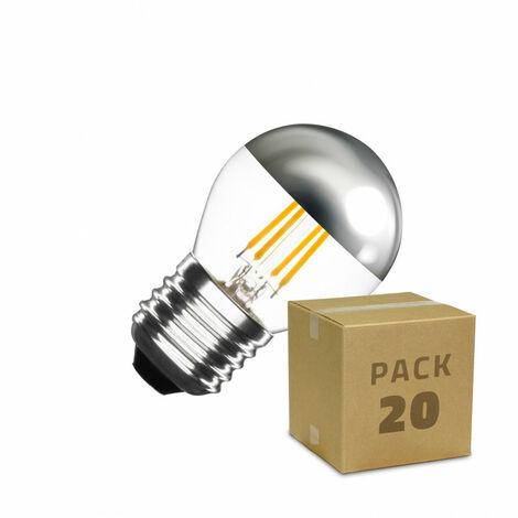 Caja de 20 Bombillas LED E27 Casquillo Gordo Regulable Filamento Chrome Reflect Small Classic G45 3.5W Blanco Neutro