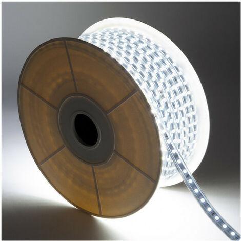 Bobina de Tira LED Regulable 220V AC 60 LED/m 50m Blanco Frío IP65 Corte cada 100cm
