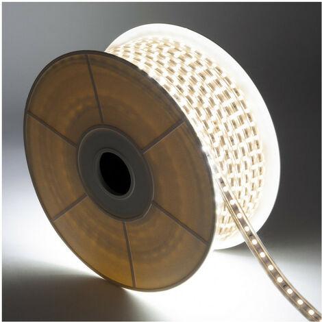 Bobina de Tira LED Regulable 220V AC 60 LED/m 50m Blanco Cálido IP65 Corte cada 100cm