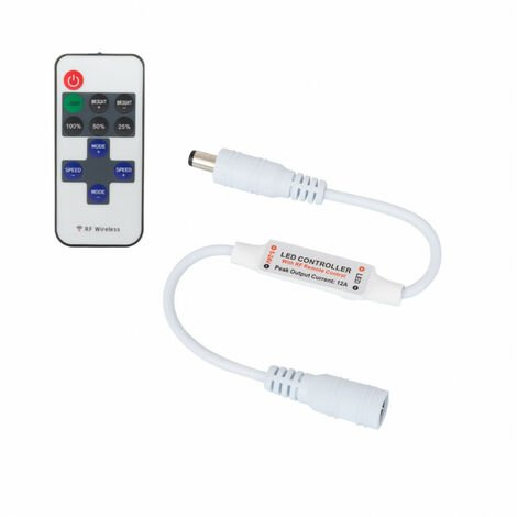 Controlador Regulador Mini Tira LED Monocolor 12/24V DC con Mando RF