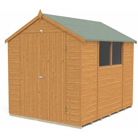 8' x 6' Forest Delamere Shiplap Dip Treated Double Door Apex Wooden Shed