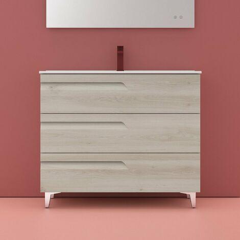 ROYO VITALE Mueble+Lavabo 3 Cajones F-46 cms Blanco Nature - Medida: 100 CMS