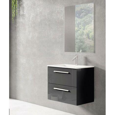 VISOBATH NOA Conjunto Mueble Completo Suspendido 2 Cajones Gris Brillo - Medida: 100 cms