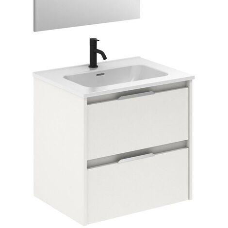 AMIZUVA SUKI Mueble+Lavabo 2 Cajones Blanco Brillo