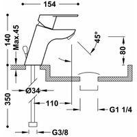TRES 139104DA BM-TRES Grifo Lavabo Alto Ecoeficiente