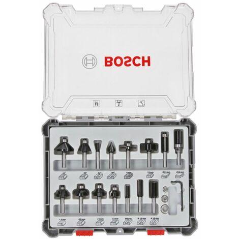 Bosch Set de fraises pour travail ? la main. 6 mm filetage. 15 pi?ces