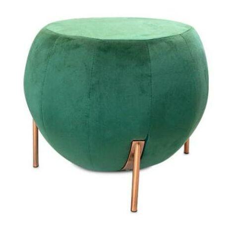 Pouf Rotondo in Velluto Verde 50x40x50