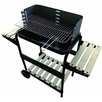 Barbecue a carbone in acciaio 80x65 cm trasportabile con piano dappoggio centrale e ruote BST CARIBE 612 LUX