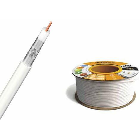 Cable coaxial para TV de cobre malla aluminio blanco 100m Televes 2128