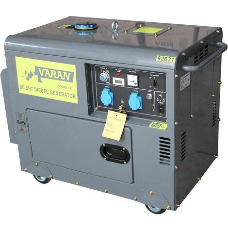 Varan Motors - 92631 Generador eléctrico diésel SILENCIOSO 5.5kW 230V + 12V - Gris