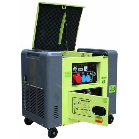 Varan Motors - 92625 Generador eléctrico diésel insonorizado tipo Panda grupo electrógeno 400V+230V 6.25kVa - Verde